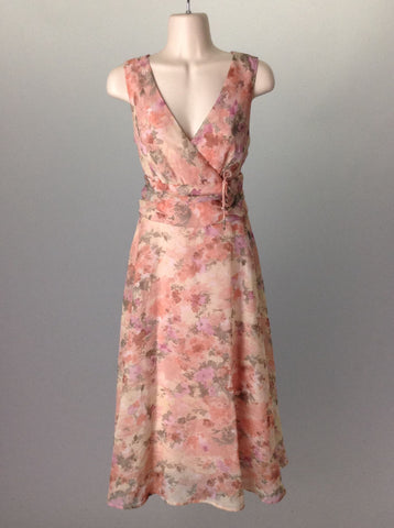 Pink Floral Pattern Casual Traditional Dress, Size: 12 R
