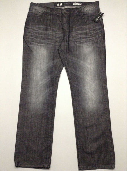 Black Pattern Grey/Black Straight Leg Jeans, Size: 38/32 R