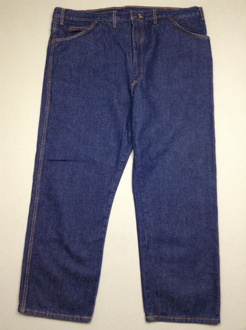 Blue Plain Dark Relaxed Jeans, Size: 46/30 R