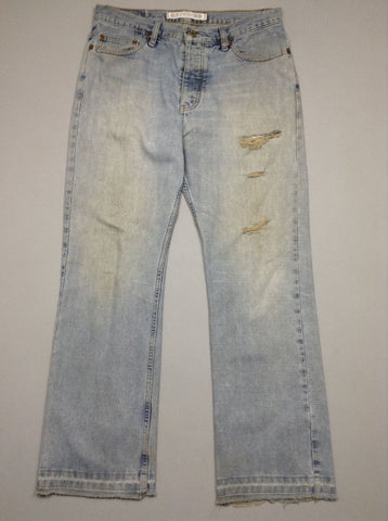 Blue Plain Distressed Boot Cut Jeans, Size: 33/30 R