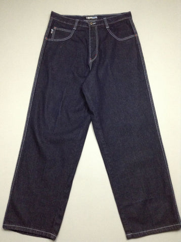 Blue Plain Dark Regular Jeans, Size: 35.0