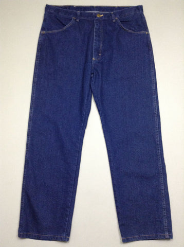 Blue Plain Dark Regular Jeans, Size: 36/29 R