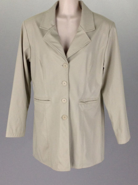 Beige Plain Traditional Coat, Size: Medium