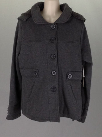 Gray Plain Traditional Coat, Size: Large