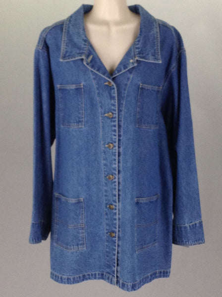 Blue Plain Jean Coat, Size: 24 R