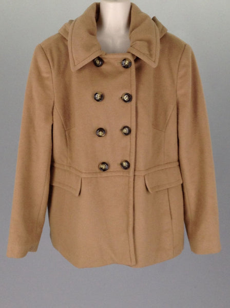 Brown Plain Double Breasted Coat, Size: X-Large
