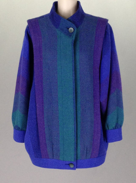 Blue Striped Traditional Coat, Size: Small