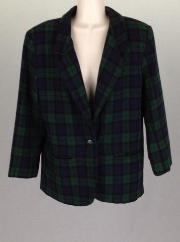 Green Plaid Traditional Coat, Size: 10 P