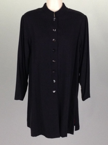 Black Plain Traditional Coat, Size: 0 R