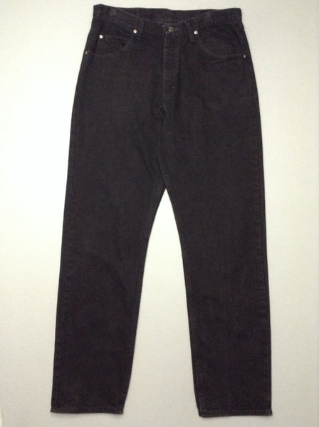 Black Plain Grey/Black Relaxed Jeans, Size: 34/34 R