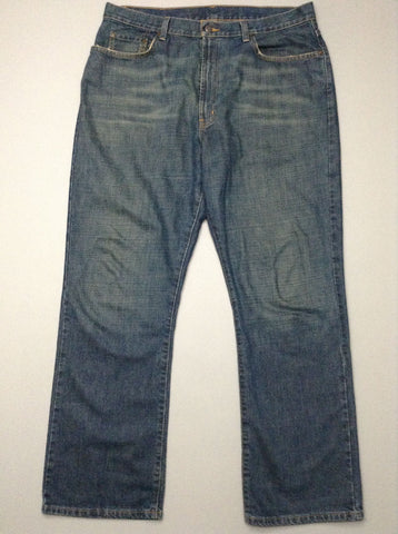 Blue Plain Medium Regular Jeans, Size: 35/32 R