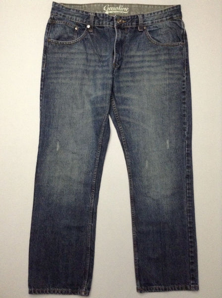 Blue Plain Medium Regular Jeans, Size: 36/32 R