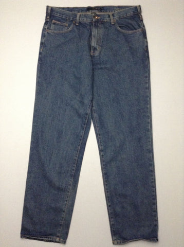 Blue Plain Dark Relaxed Jeans, Size: 39.0
