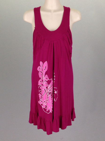 Pink Printed Design Coverup, Size: Small