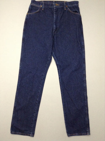 Blue Plain Dark Regular Jeans, Size: 33.0