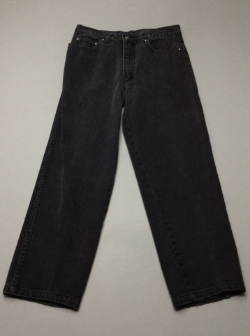 Black Plain Grey/Black Relaxed Jeans, Size: 32/32 R