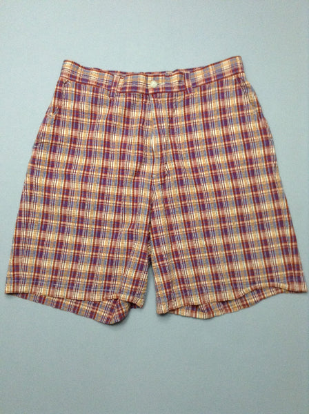 Multicolor Plaid Casual Shorts, Size: 33.0
