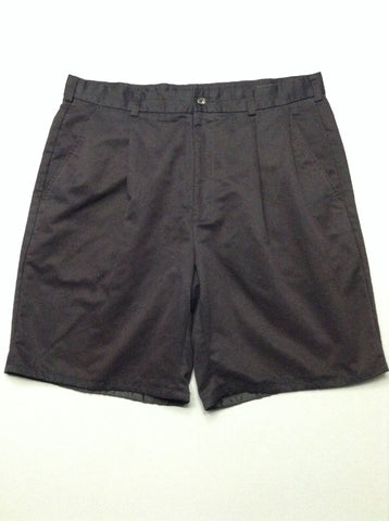 Black Plain Pleated Front Casual Shorts, Size: 37.0