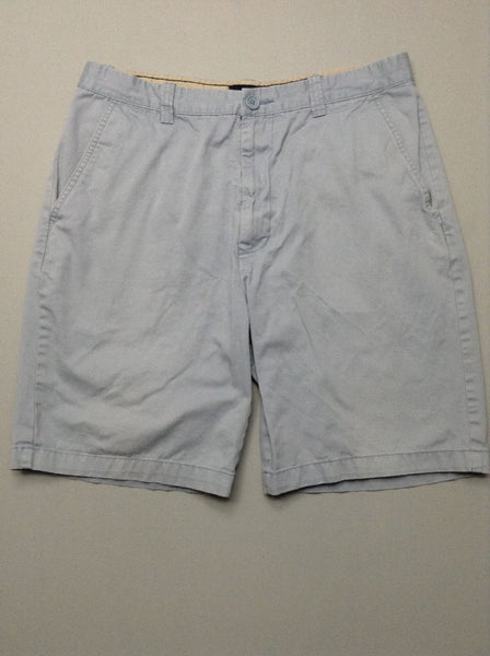 Blue Plain Flat Front Casual Shorts, Size: 34.0