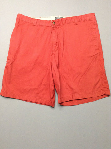 Orange Plain Flat Front Casual Shorts, Size: 41.0
