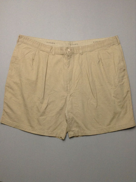 Beige Plain Pleated Front Khakis Shorts, Size: 49.0