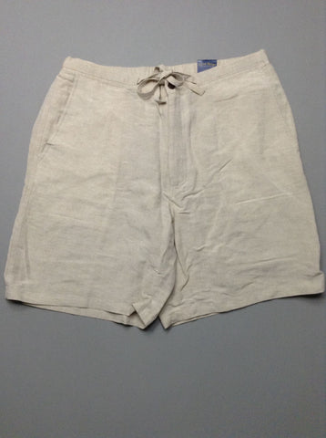 Beige Plain Casual Shorts, Size: 34.0