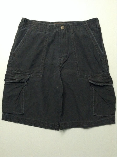 Black Plain Cargo Shorts, Size: 33.0