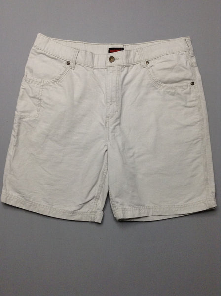 Beige Plain Casual Shorts, Size: 37.0