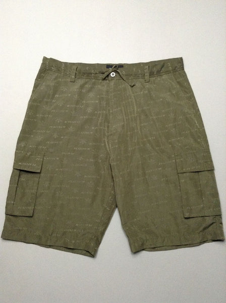 Green Pattern Cargo Shorts, Size: 2X-Large