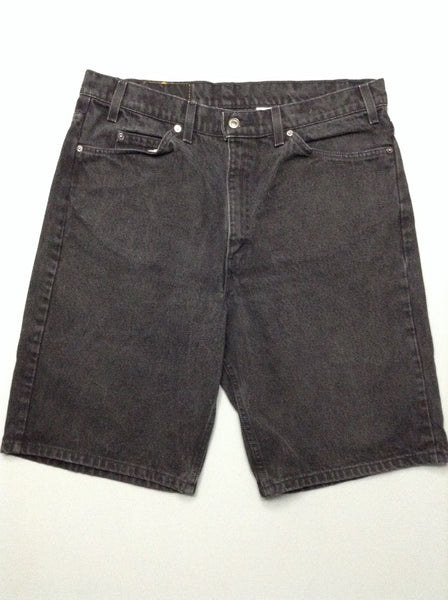 Black Plain Flat Front Denim Shorts, Size: 37.0