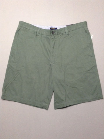 Green Plain Flat Front Casual Shorts, Size: 36.0