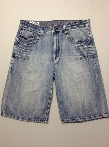 Blue Plain Denim Shorts, Size: 34.0