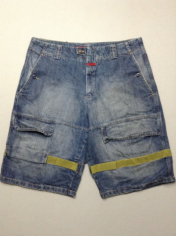 Blue Pattern Denim Shorts, Size: 37.0
