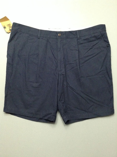 Blue Plain Pleated Front Casual Shorts, Size: 45.0