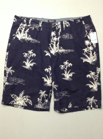 Blue Pattern Casual Shorts, Size: 38.0