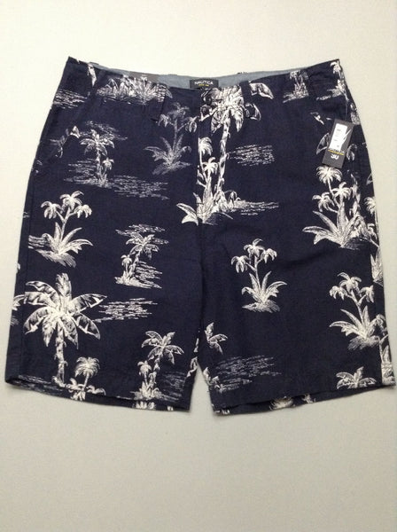 Blue Pattern Casual Shorts, Size: 39.0