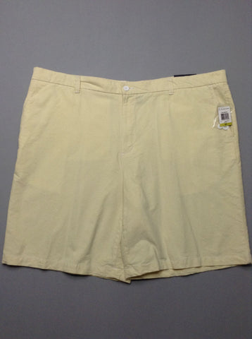 Yellow Plain Flat Front Casual Shorts, Size: 47.0