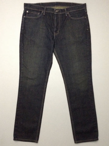 Blue Plain Dark Regular Jeans, Size: 38/32 R