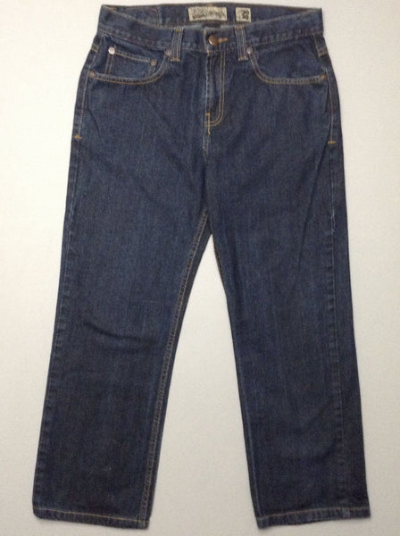 Blue Plain Dark Relaxed Jeans, Size: 30/30 R