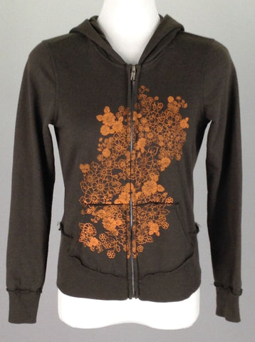 Brown Floral Pattern Hooded Sweatshirt, Size: Small
