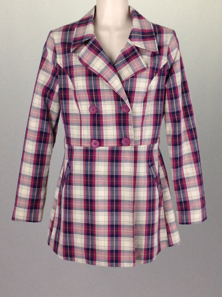 Multicolor Plaid Double Breasted Coat, Size: Small