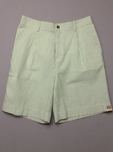 Green Striped Casual Shorts, Size: 31.0
