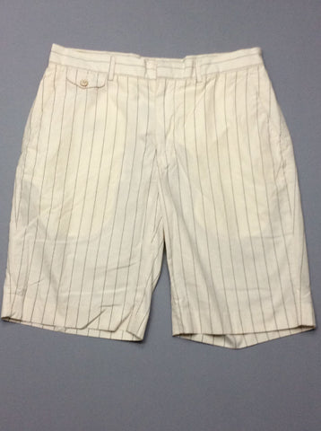 White Striped Casual Shorts, Size: 35.0