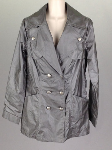 Gray Plain Double Breasted Coat, Size: Small
