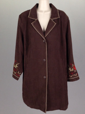 Brown Plain Traditional Coat, Size: 2X-Large