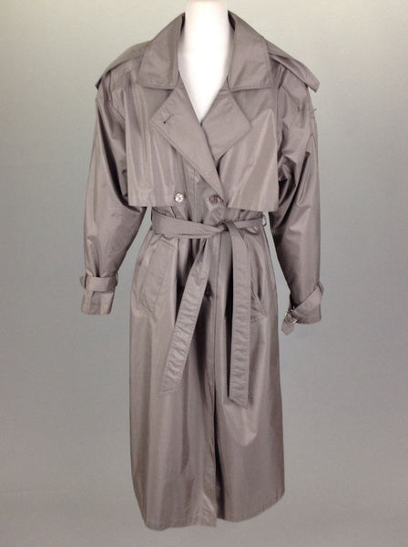 Gray Plain Trench Coat, Size: 10 R