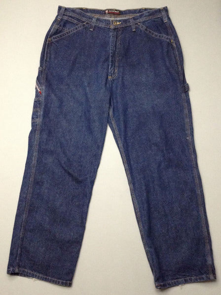 Blue Plain Medium Carpenter Jeans, Size: 36/32 R
