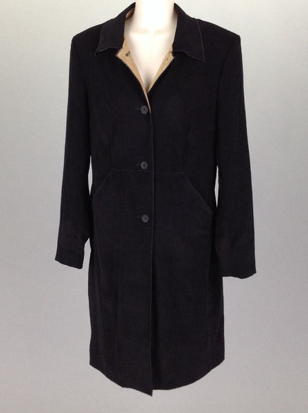 Black Plain Traditional Coat, Size: 10 R