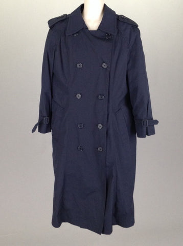 Blue Plain Trench Coat, Size: 12 R