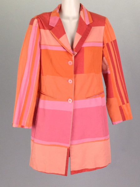 Multicolor Color Block Traditional Coat, Size: 2 R